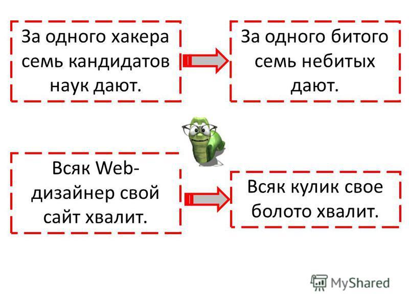 За одного хакера семь кандидатов наук дают. За одного битого семь небитых дают. Всяк Web- дизайнер свой сайт хвалит. Всяк кулик свое болото хвалит.