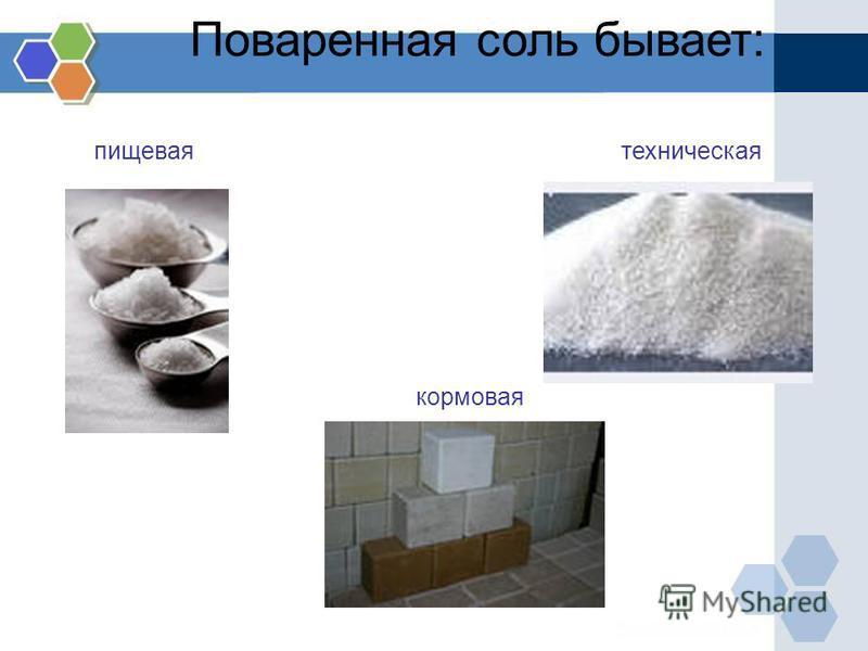 Поваренная соль бывает: пищевая техническая кормовая