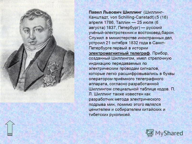 Павел Львович Шиллинг (Шиллинг- Канштадт, von Schilling-Canstadt) (5 (16) апреля 1786, Таллин 25 июля (6 августа) 1837, Петербург) русский учёный-электротехник и востоковед,барон. Служил в министерстве иностранных дел, устроил 21 октября 1832 года в