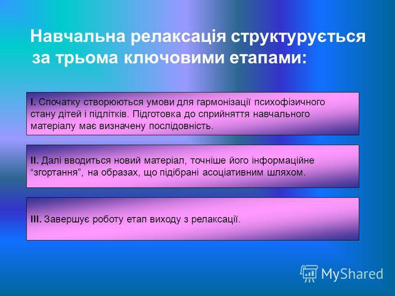 Навчальна релаксація структурується за трьома ключовими етапами: І. Спочатку створюються умови для гармонізації психофізичного стану дітей і підлітків. Підготовка до сприйняття навчального матеріалу має визначену послідовність. ІІ. Далі вводиться нов