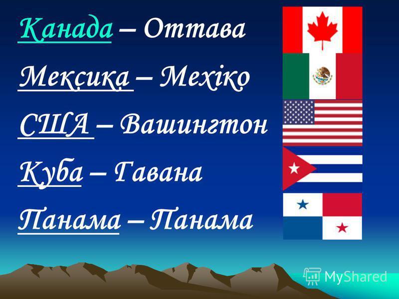 КанадаКанада – Оттава Мексика – Мехіко США – Вашингтон Куба – Гавана Панама – Панама