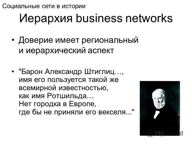 Иерархия business networks Доверие имеет региональный и иерархический аспект