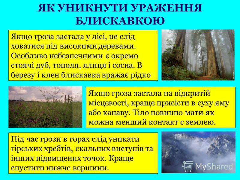 Якщо гроза застала у лісі, не слід ховатися під високими деревами. Особливо небезпечними є окремо стоячі дуб, тополя, ялиця і сосна. В березу і клен блискавка вражає рідко Якщо гроза застала на відкритій місцевості, краще присісти в суху яму або кана