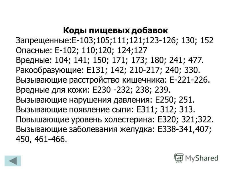 Коды пищевых добавок Запрещенные:Е-103;105;111;121;123-126; 130; 152 Опасные: Е-102; 110;120; 124;127 Вредные: 104; 141; 150; 171; 173; 180; 241; 477. Ракообразующие: Е131; 142; 210-217; 240; 330. Вызывающие расстройство кишечника: Е-221-226. Вредные