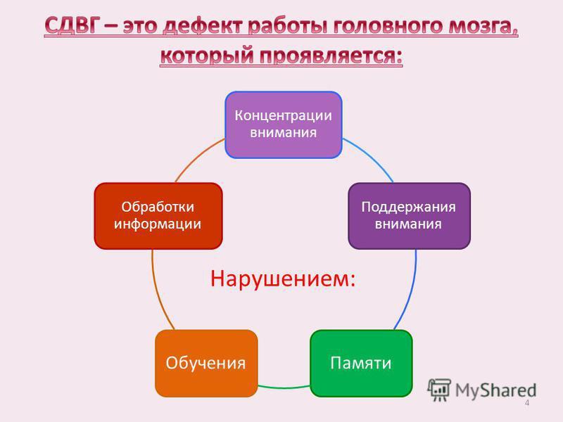Концентрации внимания Поддержания внимания Памяти Обучения Обработки информации Нарушением: 4
