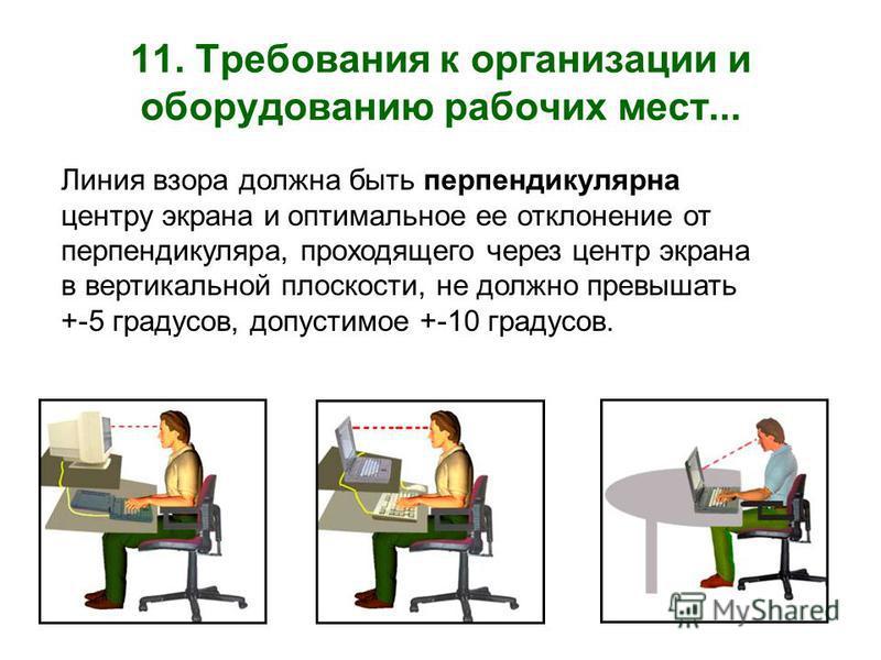 11. Требования к организации и оборудованию рабочих мест... Линия взора должна быть перпендикулярна центру экрана и оптимальное ее отклонение от перпендикуляра, проходящего через центр экрана в вертикальной плоскости, не должно превышать +-5 градусов