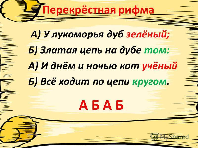Перекрёстная рифма А) У лукоморья дуб зелёный; Б) Златая цепь на дубе том: А) И днём и ночью кот учёный Б) Всё ходит по цепи кругом. А Б