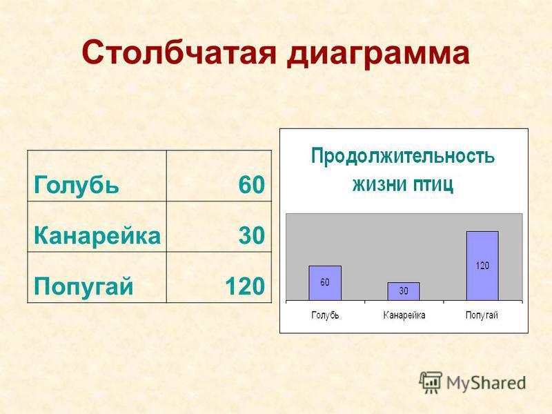 Задача 2. Построить столбчатую диаграмму по следующим данным и провести исследование: Голубь ____ Канарейка__ Попугай________ В сумме могут прожить 210 лет. Сколько лет может прожить каждая птица?