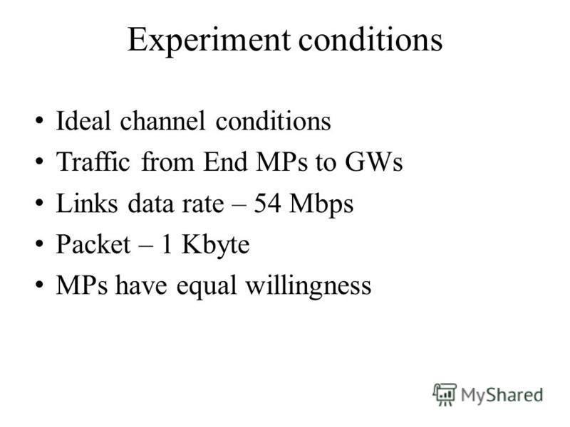 Experiment conditions Ideal channel conditions Traffic from End MPs to GWs Links data rate – 54 Mbps Packet – 1 Kbyte MPs have equal willingness