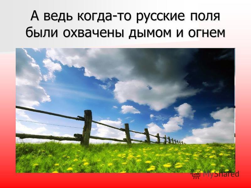 А ведь когда-то русские поля были охвачены дымом и огнем
