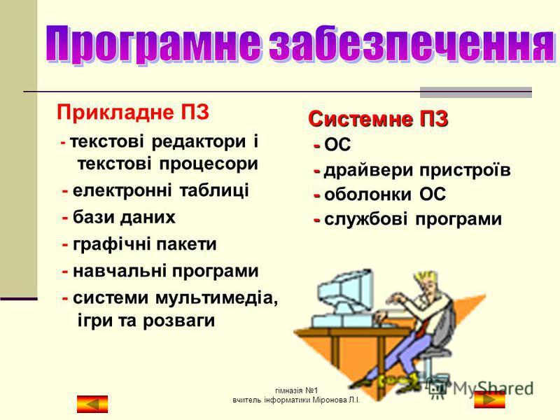 Системне ПЗ – це сукупність програм призначених для управління апаратною частиною компютера і забезпечення взаємодії користувача з компютером. Прикладне ПЗ – це програми, які призначені для розвязання завдань у різних предметних галузях. Інструментал