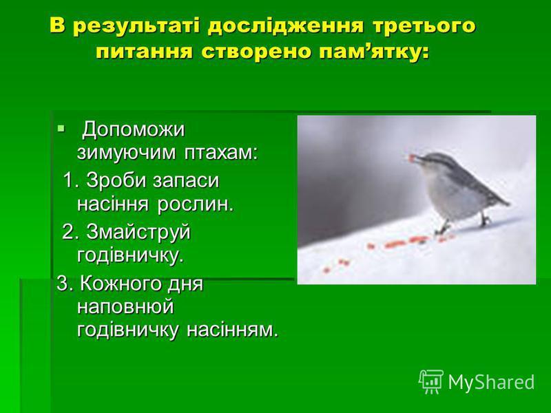 В результаті дослідження третього питання створено памятку: Допоможи зимуючим птахам: Допоможи зимуючим птахам: 1. Зроби запаси насіння рослин. 1. Зроби запаси насіння рослин. 2. Змайструй годівничку. 2. Змайструй годівничку. 3. Кожного дня наповнюй