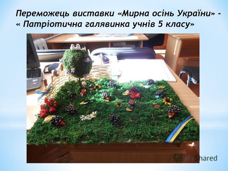 Переможець виставки «Мирна осінь України» - « Патріотична галявинка учнів 5 класу»