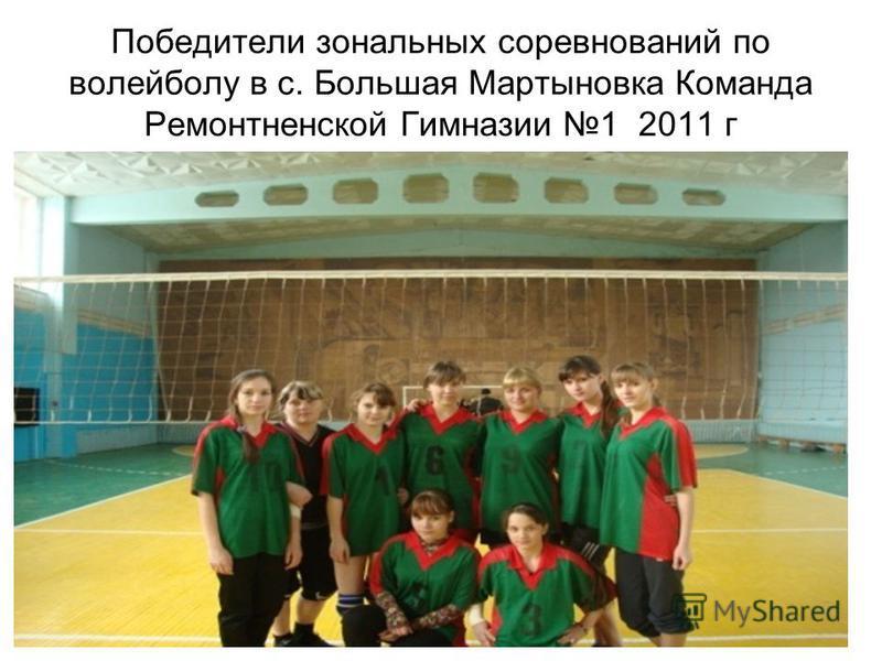 Победители зональных соревнований по волейболу в с. Большая Мартыновка Команда Ремонтненской Гимназии 1 2011 г