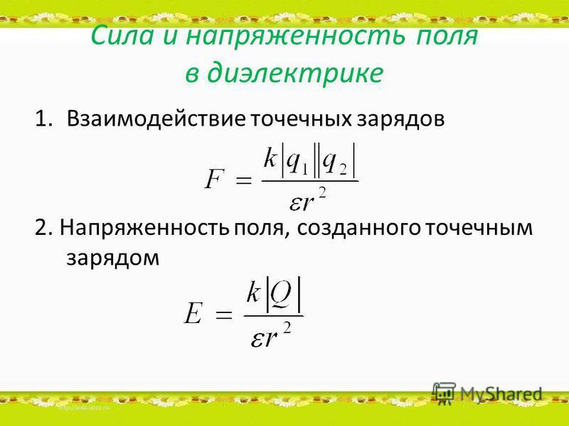 Сила и напряженность поля в диэлектрике 1. Взаимодействие точечных зарядов 2. Напряженность поля, созданного точечным зарядом