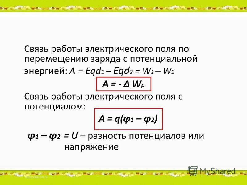 Связь работы электрического поля по перемещению заряда с потенциальной энергией: A = Eqd 1 – Eqd 2 = W 1 – W 2 A = - Δ W p Связь работы электрического поля с потенциалом: A = q(ϕ 1 – ϕ 2 ) ϕ 1 – ϕ 2 = U – разность потенциалов или напряжение