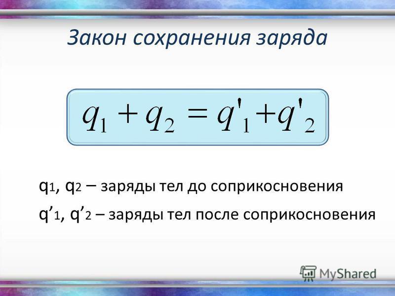Закон сохранения заряда q 1, q 2 – заряды тел до соприкосновения q 1, q 2 – заряды тел после соприкосновения