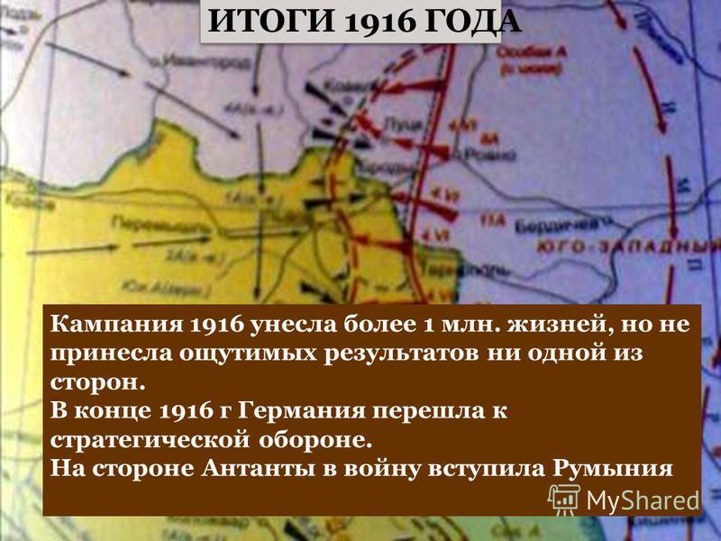 Куляшова И.П. ИТОГИ 1916 ГОДА Кампания 1916 унесла более 1 млн. жизней, но не принесла ощутимых результатов ни одной из сторон. В конце 1916 г Германия перешла к стратегической обороне. На стороне Антанты в войну вступила Румыния