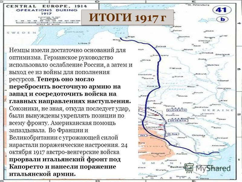 Куляшова И.П. ИТОГИ 1917 г Немцы имели достаточно оснований для оптимизма. Германское руководство использовало ослабление России, а затем и выход ее из войны для пополнения ресурсов. Теперь оно могло перебросить восточную армию на запад и сосредоточи