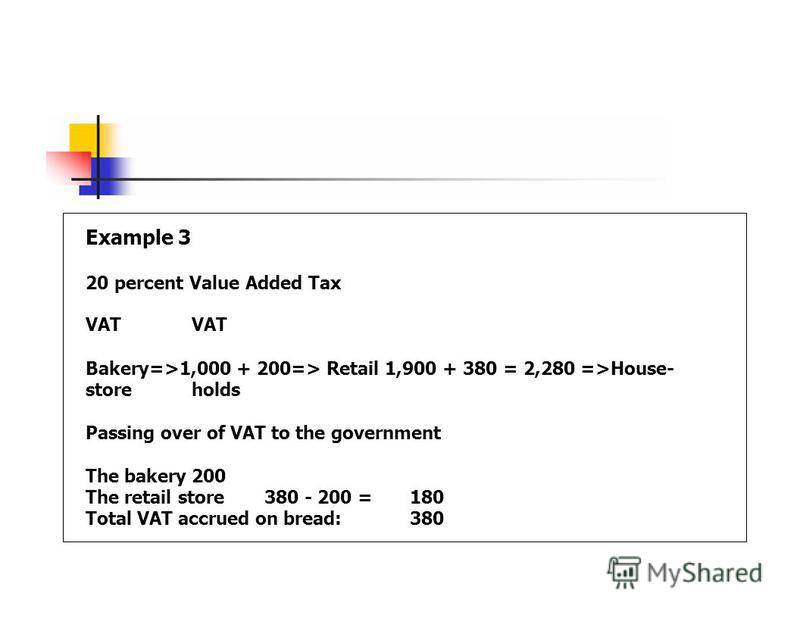 Example 3 20 percent Value Added TaxVAT Bakery=>1,000 + 200=> Retail 1,900 + 380 = 2,280 =>House- storeholds Passing over of VAT to the government The bakery200 The retail store380 - 200 =180 Total VAT accrued on bread:380
