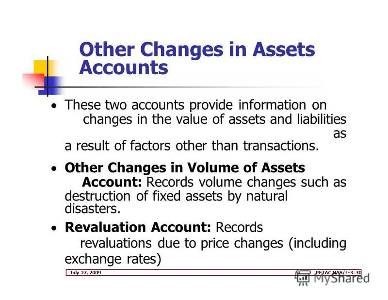 July 27, 2009PFTAC NAS/L-3: 30 Other Changes in Assets Accounts These two accounts provide information on changes in the value of assets and liabilities as a result of factors other than transactions. Other Changes in Volume of Assets Account: Record