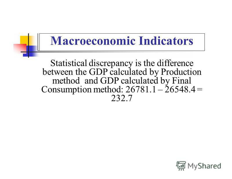 Macroeconomic Indicators Statistical discrepancy is the difference between the GDP calculated by Production method and GDP calculated by Final Consumption method: 26781.1 – 26548.4 = 232.7