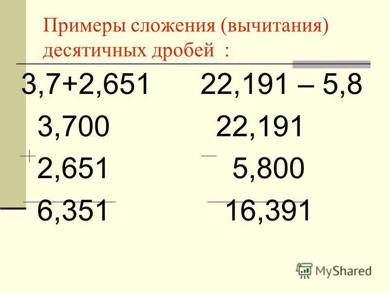 Примеры сложения (вычитания) десятичных дробей : 3,7+2,651 22,191 – 5,8 3,700 22,191 2,651 5,800 6,351 16,391