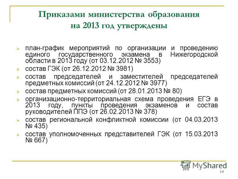 14 Приказами министерства образования на 2013 год утверждены план-график мероприятий по организации и проведению единого государственного экзамена в Нижегородской области в 2013 году (от 03.12.2012 3553) состав ГЭК (от 26.12.2012 3981) состав председ