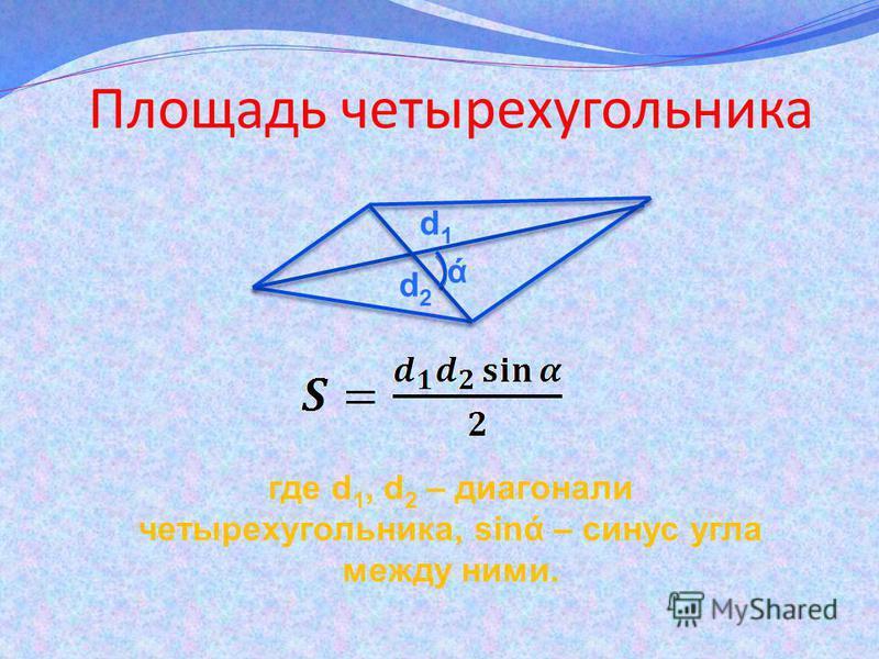 Площадь четырехугольника где d 1, d 2 – диагонали четырехугольника, sing – синус угла между ними. d1d1 d2d2 ά