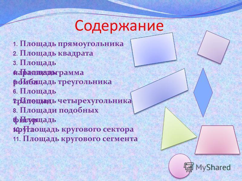 Содержание 2. Площадь квадрата 3. Площадь параллелограмма 1. Площадь прямоугольника 4. Площадь ромба 5. Площадь треугольника 6. Площадь трапеции 7. Площадь четырехугольника 8. Площади подобных фигур 9. Площадь круга 10. Площадь кругового сектора 11.