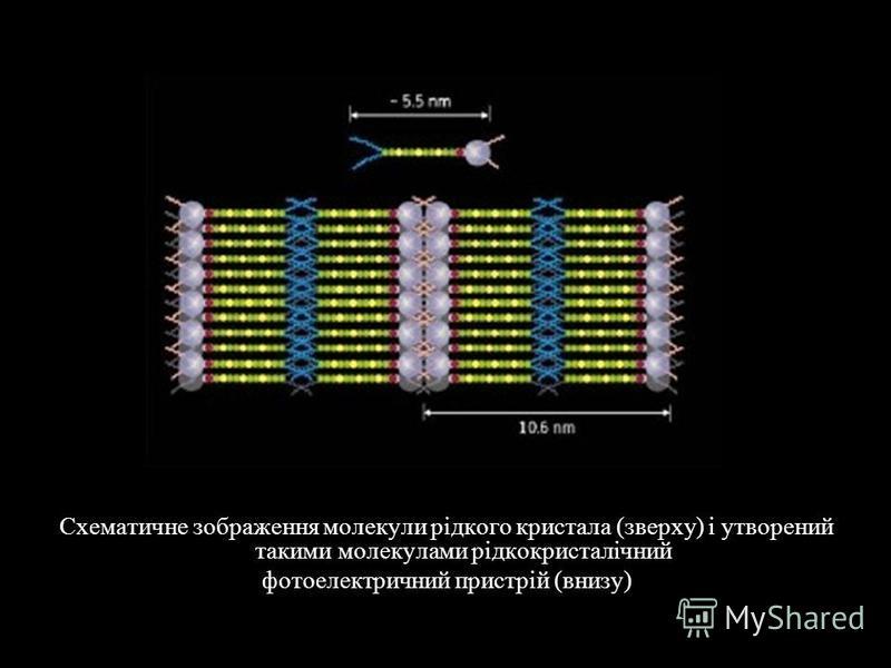 Схематичне зображення молекули рідкого кристала (зверху) і утворений такими молекулами рідкокристалічний фотоелектричний пристрій (внизу)