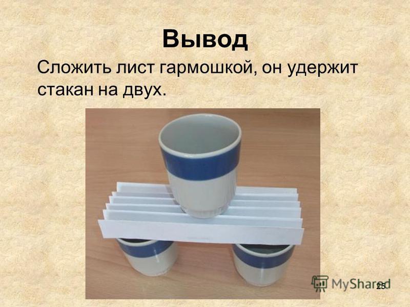 25 Вывод Сложить лист гармошкой, он удержит стакан на двух.