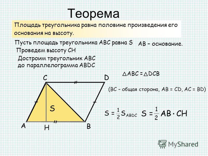 Теорема А В С Н Площадь треугольника равна половине произведения его основания на высоту. Пусть площадь треугольника АВС равна S АB – основание. Проведем высоту CH S Достроим треугольник АBС до параллелограмма АВDC АВС = DСВ (ВС – общая сторона, АВ =