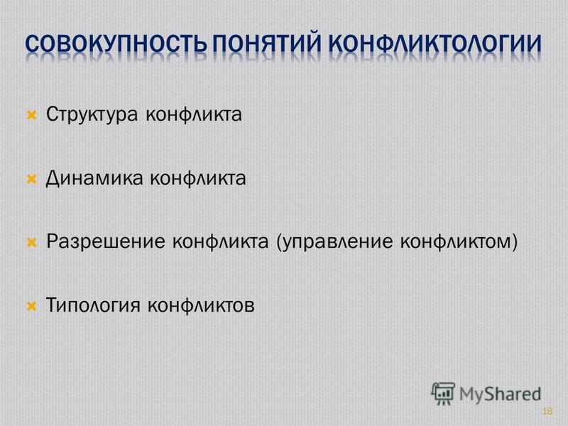 Структура конфликта Динамика конфликта Разрешение конфликта (управление конфликтом) Типология конфликтов 18
