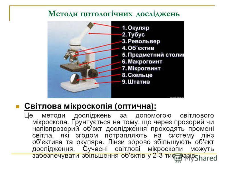 Методи цитологічних досліджень Світлова мікроскопія (оптична): Це методи досліджень за допомогою світлового мікроскопа. Грунтується на тому, що через прозорий чи напівпрозорий об'єкт дослідження проходять промені світла, які згодом потрапляють на сис