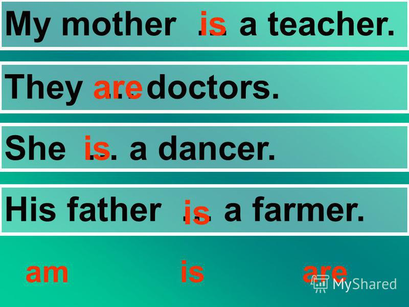 My mother … a teacher. They … doctors. She … a dancer. His father … a farmer. amisare is are is