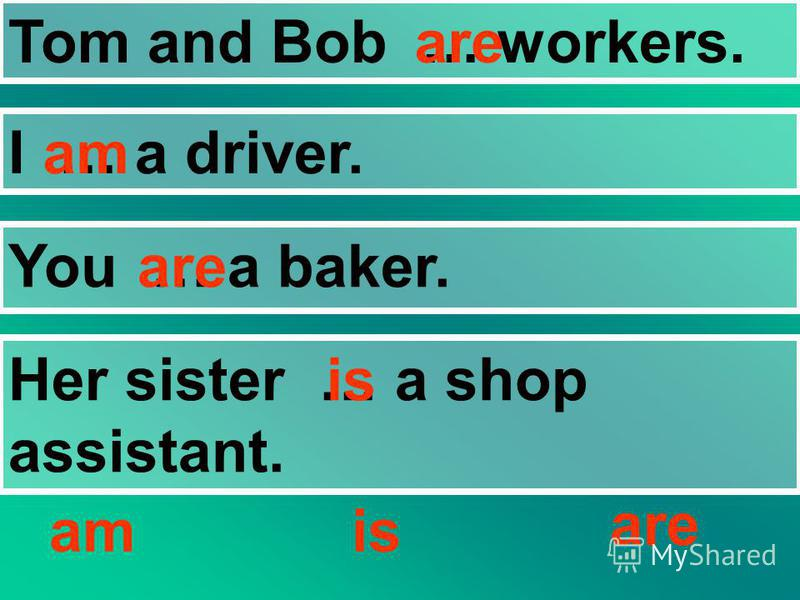 Tom and Bob … workers. I … a driver. You … a baker. Her sister … a shop assistant. amis are am are is