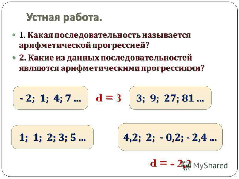 Устная работа. Какая последовательность называется арифметической прогрессией ? 1. Какая последовательность называется арифметической прогрессией ? 2. Какие из данных последовательностей являются арифметическими прогрессиями ? 2. Какие из данных посл