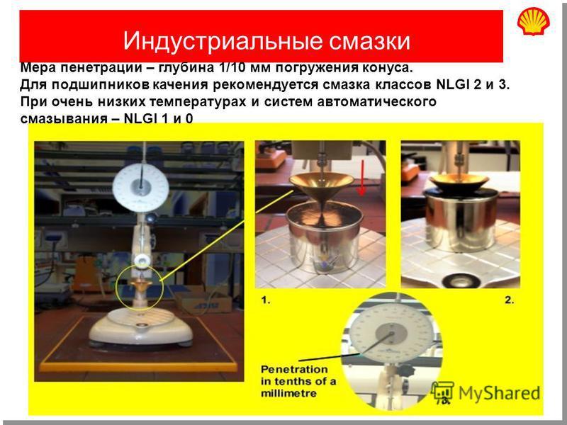 Август 200240 Индустриальные cмазки Мера пенетрации – глубина 1/10 мм погружения конуса. Для подшипников качения рекомендуется смазка классов NLGI 2 и 3. При очень низких температурах и систем автоматического смазывания – NLGI 1 и 0