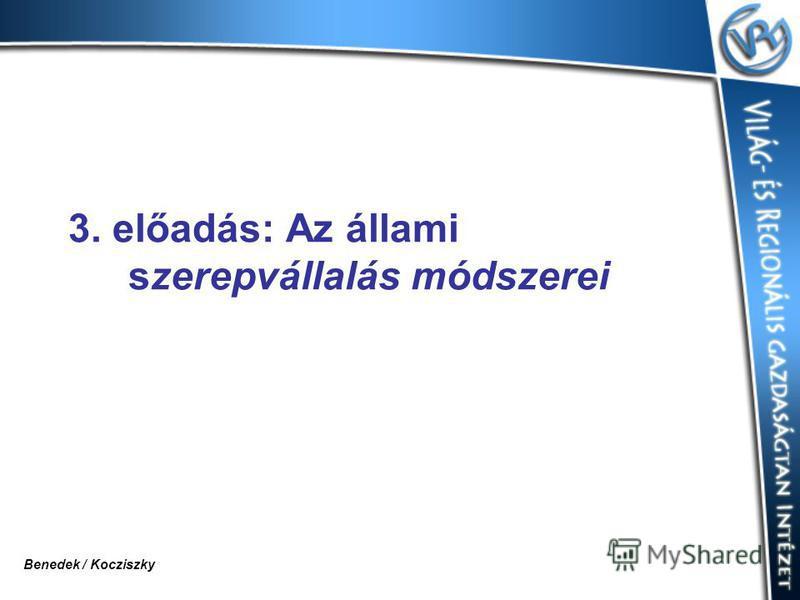 3. előadás: Az állami szerepvállalás módszerei Benedek / Kocziszky
