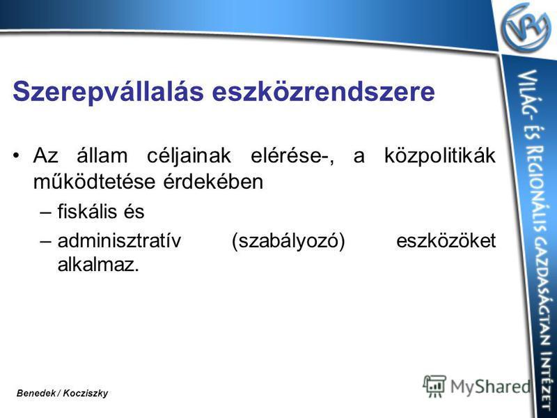 Szerepvállalás eszközrendszere Az állam céljainak elérése-, a közpolitikák működtetése érdekében –fiskális és –adminisztratív (szabályozó) eszközöket alkalmaz. Benedek / Kocziszky