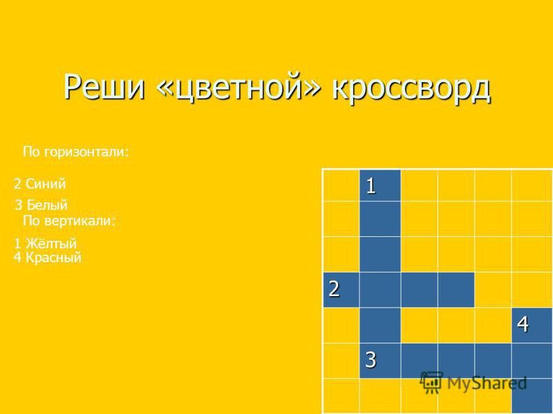 Реши «цветной» кроссворд 1 2 4 3 По горизонтали: 2 Синий 3 Белый По вертикали: 1 Жёлтый 4 Красный