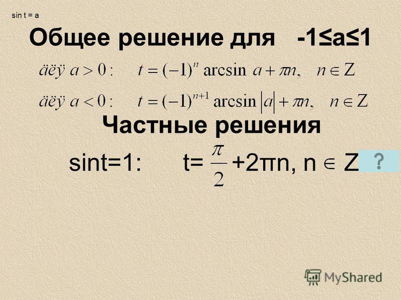 Общее решение для -1 а 1 Частные решения sint=1: t= +2πn, n Z sin t = a