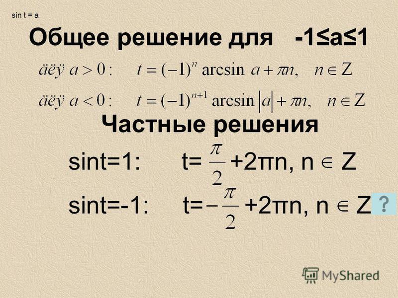 Общее решение для -1 а 1 Частные решения sint=1: t= +2πn, n Z sin t = a sint=-1: t= +2πn, n Z