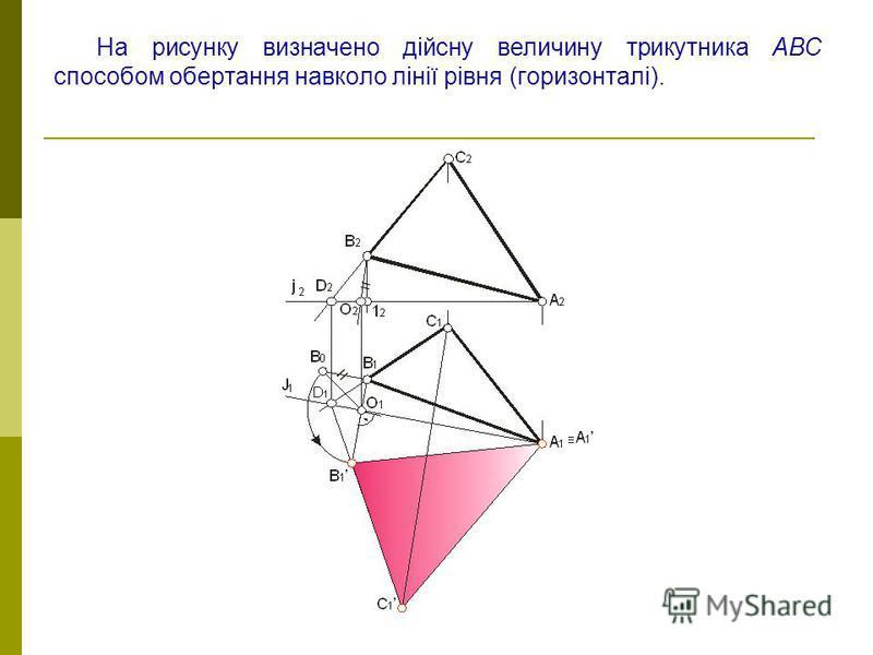 На рисунку визначено дійсну величину трикутника АВС способом обертання навколо лінії рівня (горизонталі).