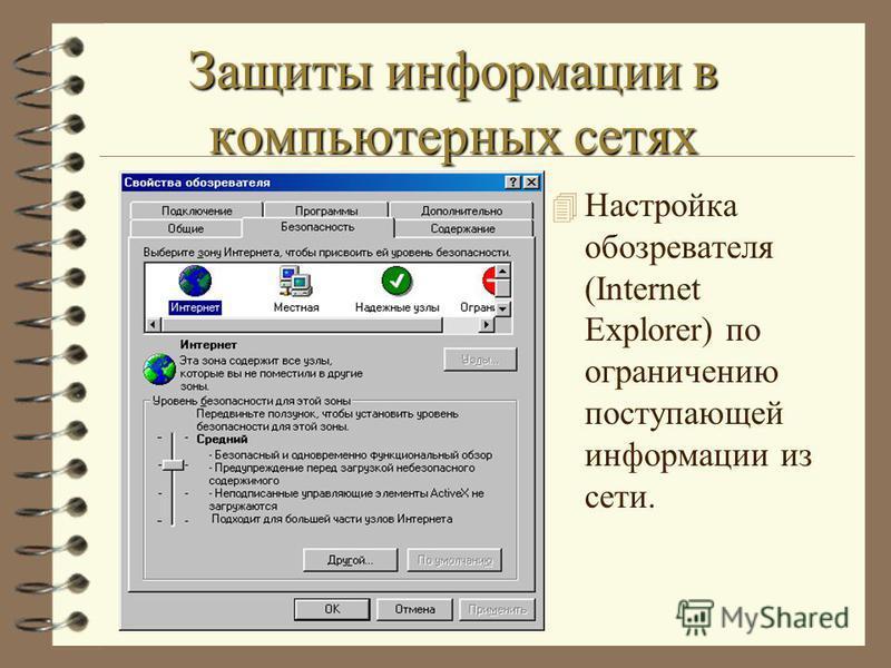 Защиты информации в компьютерных сетях 4 Настройка обозревателя (Internet Explorer) по ограничению поступающей информации из сети.