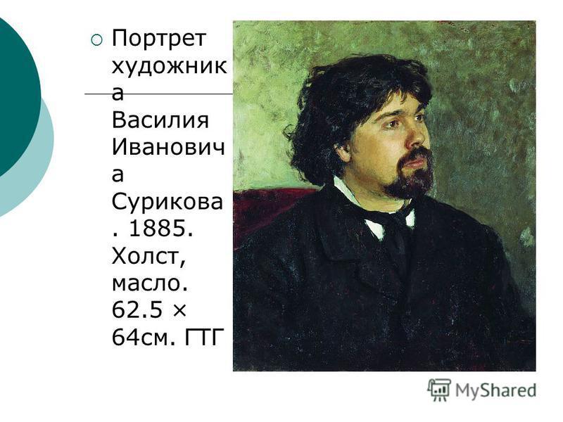 Портрет художник а Василия Иванович а Сурикова. 1885. Холст, масло. 62.5 × 64 см. ГТГ