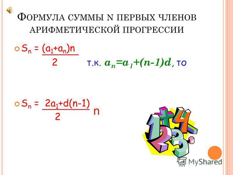 Ф ОРМУЛА N - ГО ЧЛЕНА АРИФМЕТИЧЕСКОЙ ПРОГРЕССИИ a 2 =a 1 +d a 3 =a 2 +d=(a 1 +d)+d=a 1 +2d a 4 =a 3 +d=(a 2 +2d)+d=a 1 +3d a 5 =a 4 +d=(a 3 +3d)+d=a 1 +4d => a 6 =a 1 +5d a 7 =a 1 +6d ……a n =a 1 +(n-1)d