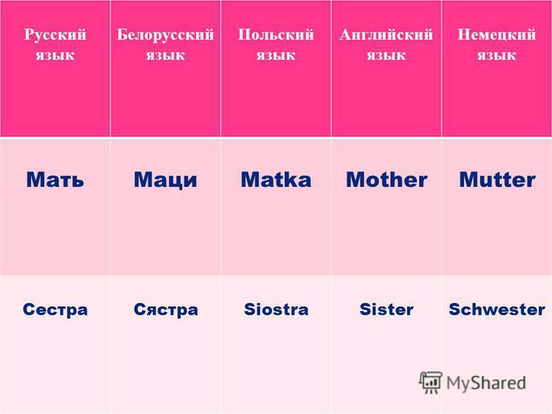 Русский язык Белорусский язык Польский язык Английский язык Немецкий язык Мать МациMatkaMotherMutter Сестра СястраSiostraSisterSchwester