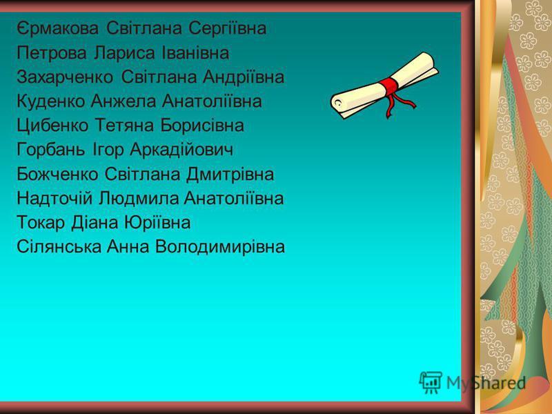 Єрмакова Світлана Сергіївна Петрова Лариса Іванівна Захарченко Світлана Андріївна Куденко Анжела Анатоліївна Цибенко Тетяна Борисівна Горбань Ігор Аркадійович Божченко Світлана Дмитрівна Надточій Людмила Анатоліївна Токар Діана Юріївна Сілянська Анна